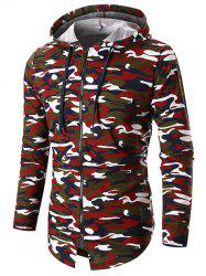 Long Sleeve Zip Up Camo Hoodie -