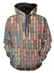 Bricks Wall Printed Kangaroo Pocket Design Hoodie -
