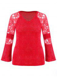 Plus Size V Neck Lace Panel Knitwear -