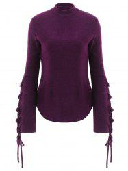 Mock Neck Lace Up Pullover Sweater -