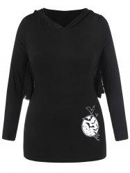 Plus Size Halloween Bat Print Hooded T-shirt -