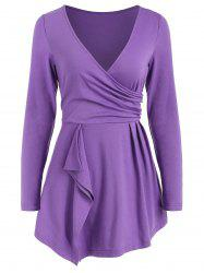 Full Sleeve Ruched Surplice T-shirt -