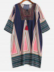 Плюс Размер Tribal Print Tassels Shift Dress -