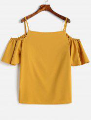 Plus Size Spaghetti Strap Cold Shoulder Blouse -