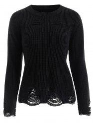 Ribbed Distressed Sweater -