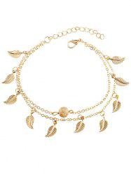 Vintage Double Layer Metal Leaf Ankle Bracelet -