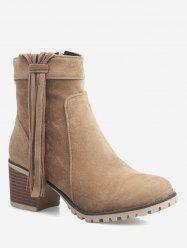 Plus Size Tassels Stacked Heel Ankle Boots -