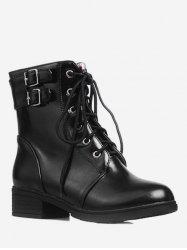 Plus Size PU Leather Flat Short Boots -
