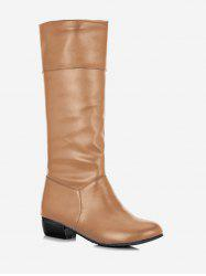 Plus Size Ruched Flat Mid Calf Boots -