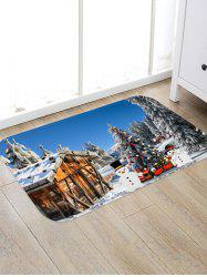 Christmas Tree Snowman Pattern Water Absorption Area Rug -