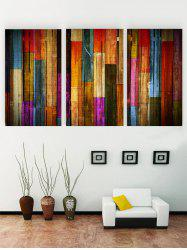 Unframed Colorful Wooden Print Canvas Paintings -