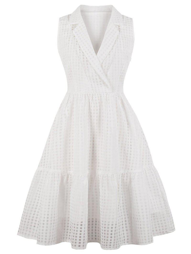 Unique Lapel Neck Plus Size Gingham A Line Dress