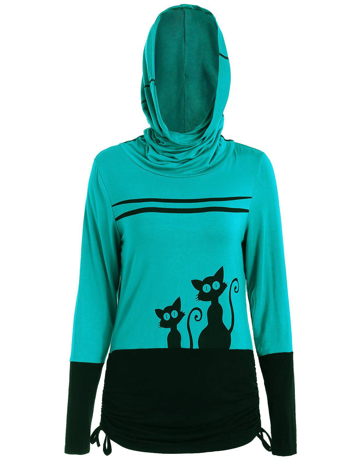 Cheap Halloween Black Cats Print Hooded T-shirt