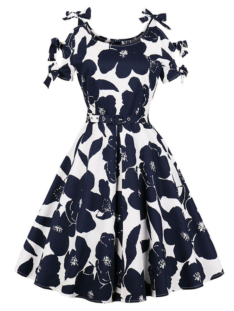 Shops Belted Floral Print Plus Size A Line Dress