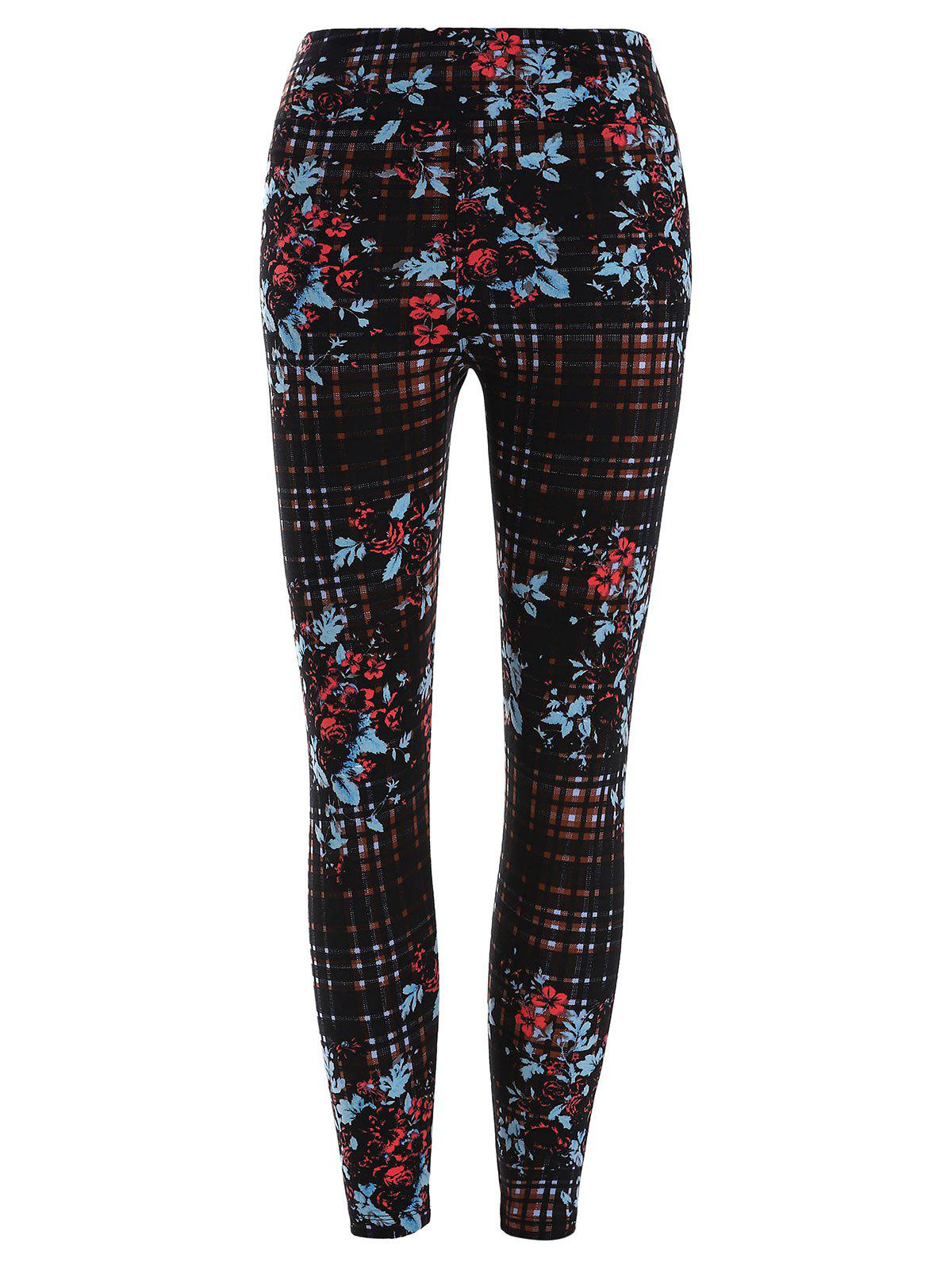 Discount Floral and Plaid Print Stretchy Leggings