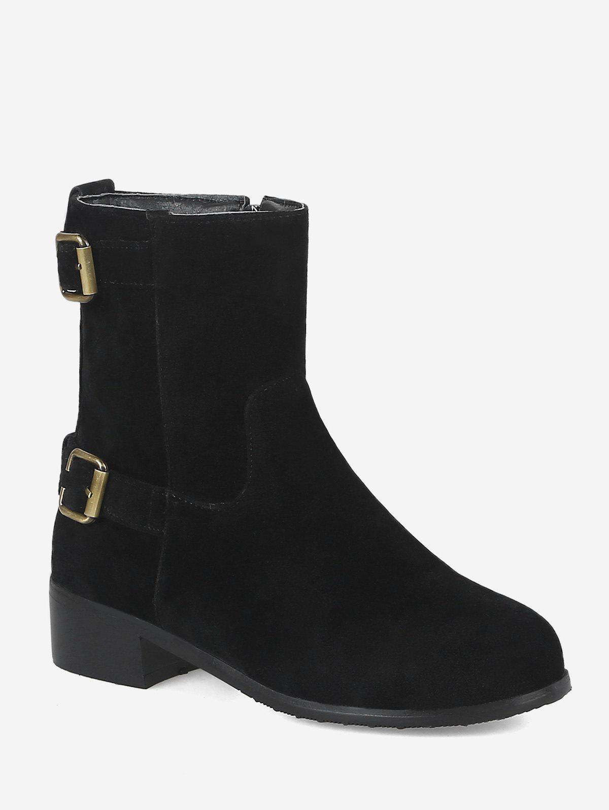 Hot Plus Size Buckle Strap Suede Ankle Boots