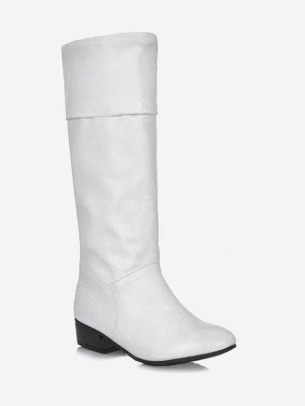 Best Plus Size Ruched Flat Mid Calf Boots