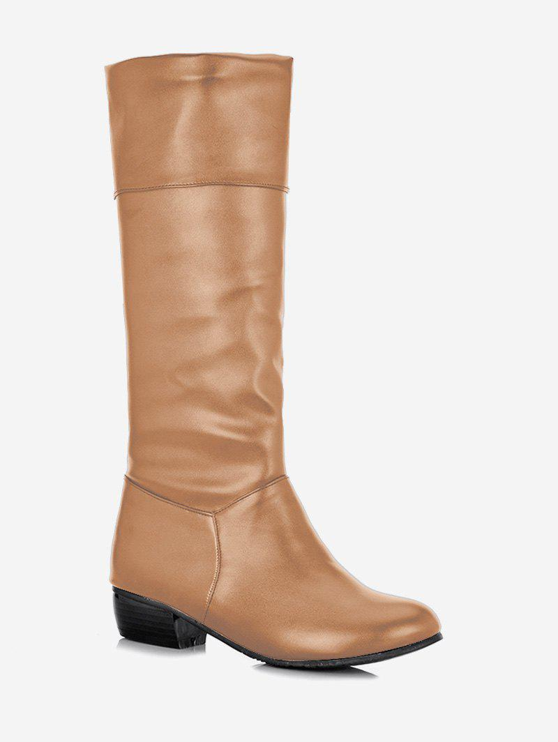 Discount Plus Size Ruched Flat Mid Calf Boots