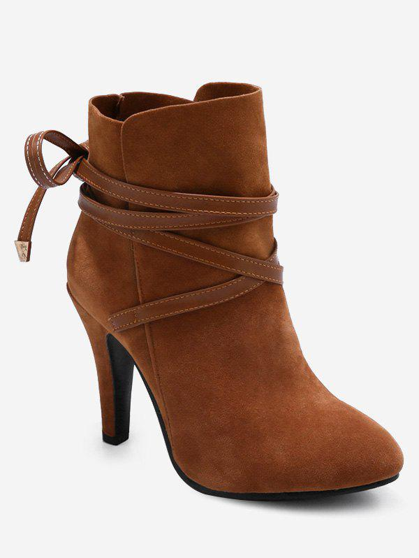 New Plus Size Bowknot Cone Heel Suede Boots