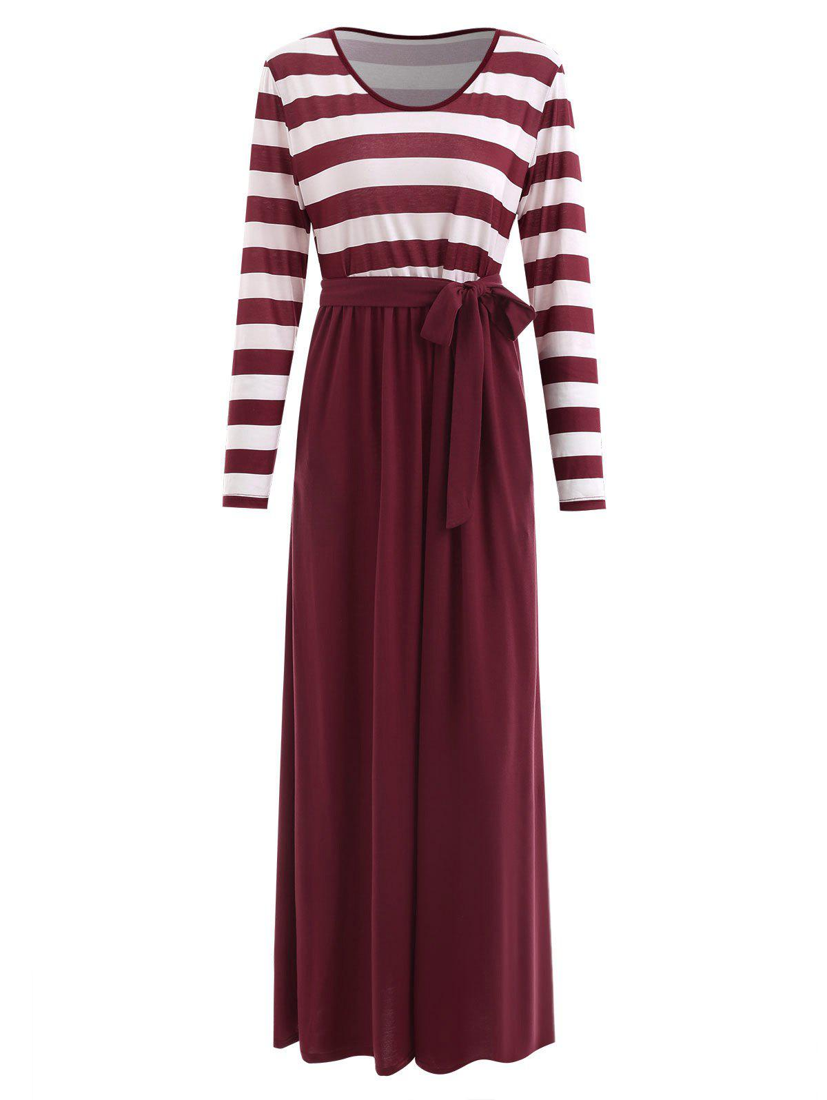 New Belted Striped Panel Maxi Dress