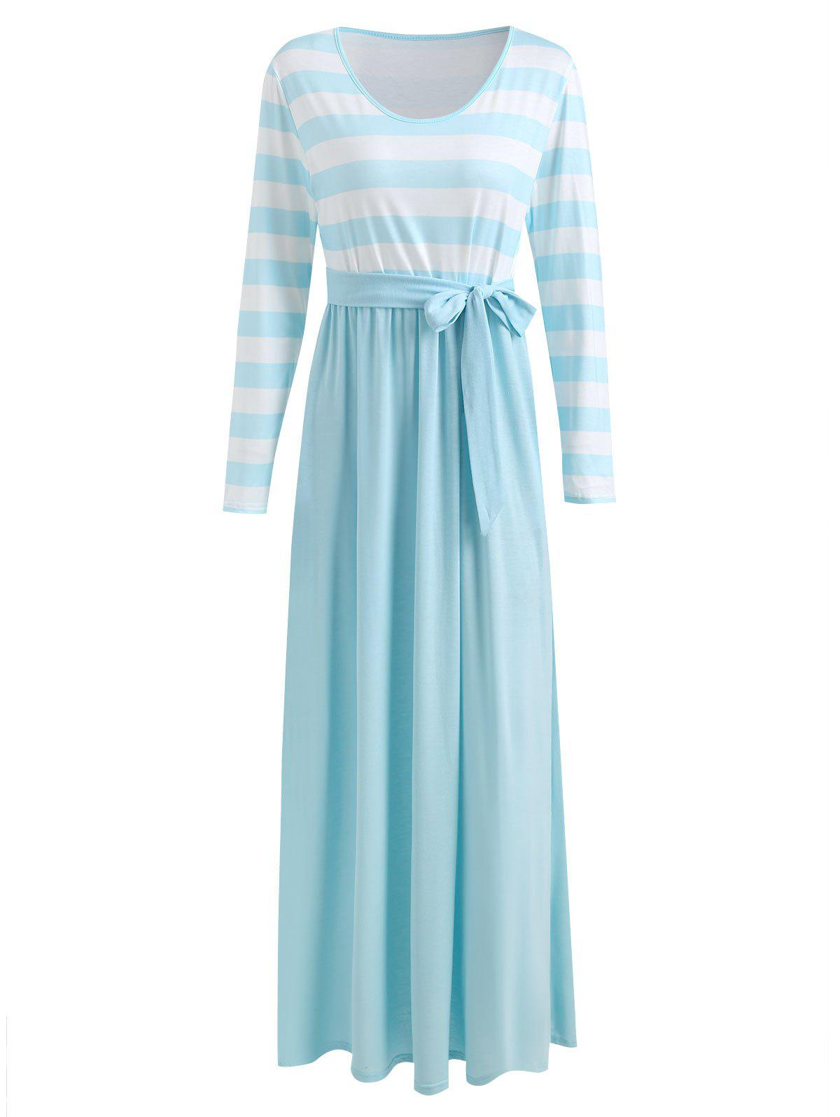 Unique Belted Striped Panel Maxi Dress