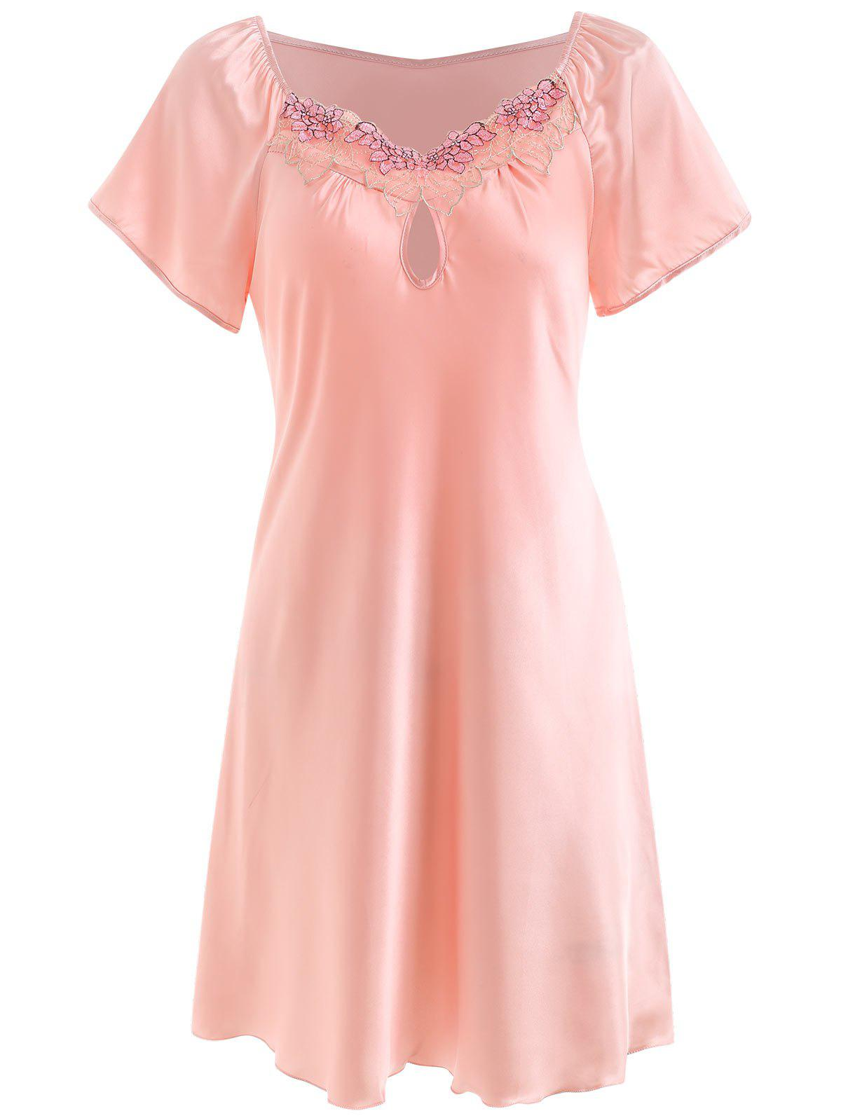 Shop Lace Panel Satin Sleeping Dress