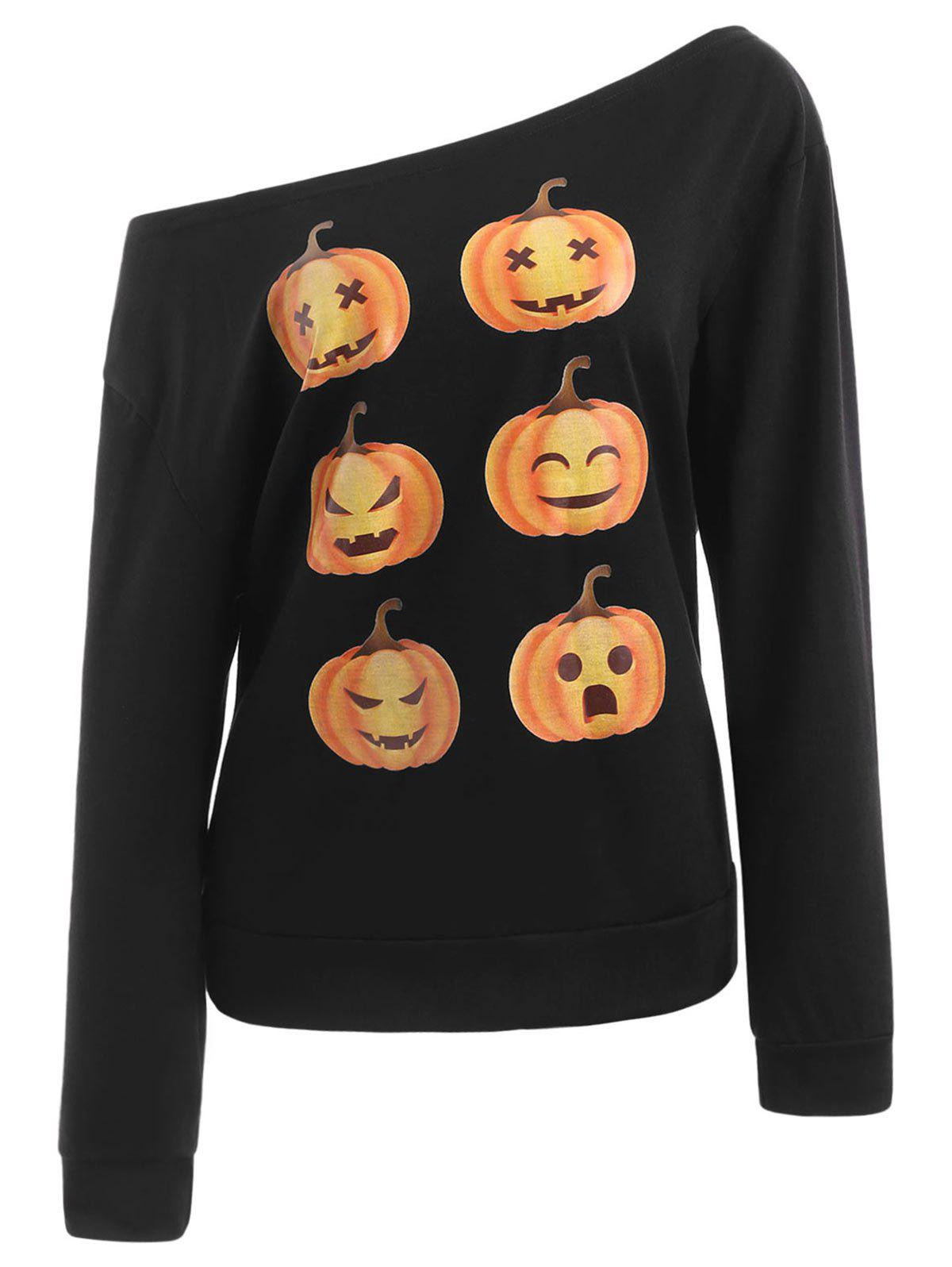 Shops Skew Neck Pumpkin Print Halloween Sweatshirt