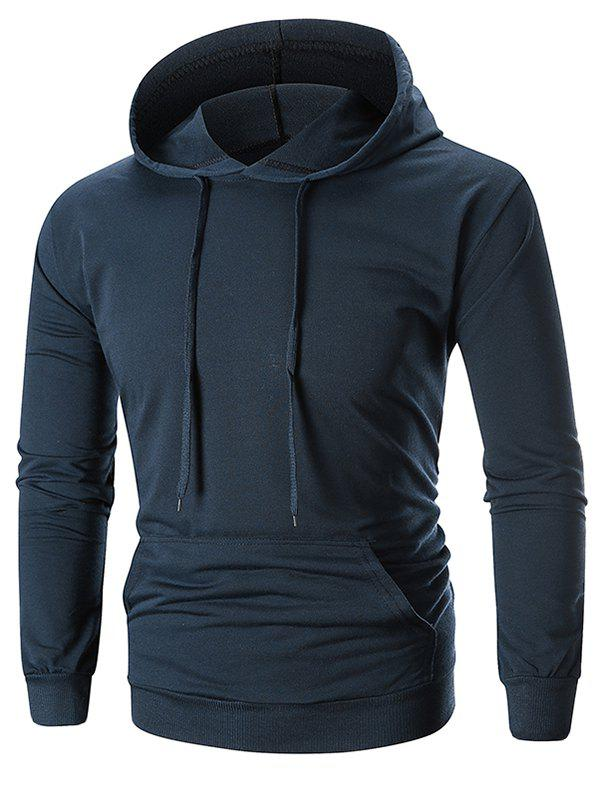 Shop Drawstring Solid Color Long Sleeve Hoodie