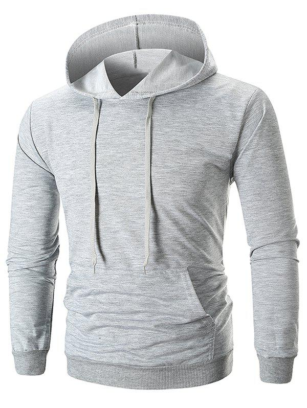 Unique Drawstring Solid Color Long Sleeve Hoodie