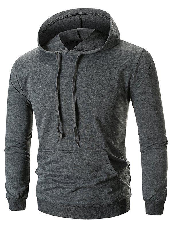 New Drawstring Solid Color Long Sleeve Hoodie