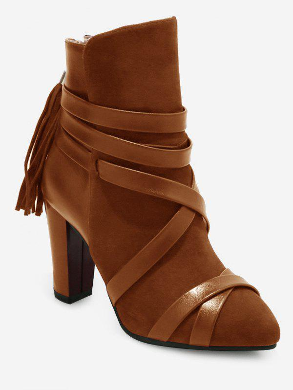 Online Plus Size Tassels Decorative Chunky Heel Short Boots