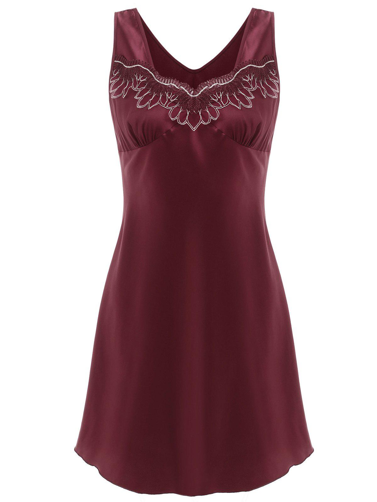 Discount Lace Insert Sleeveless Sleeping Dress