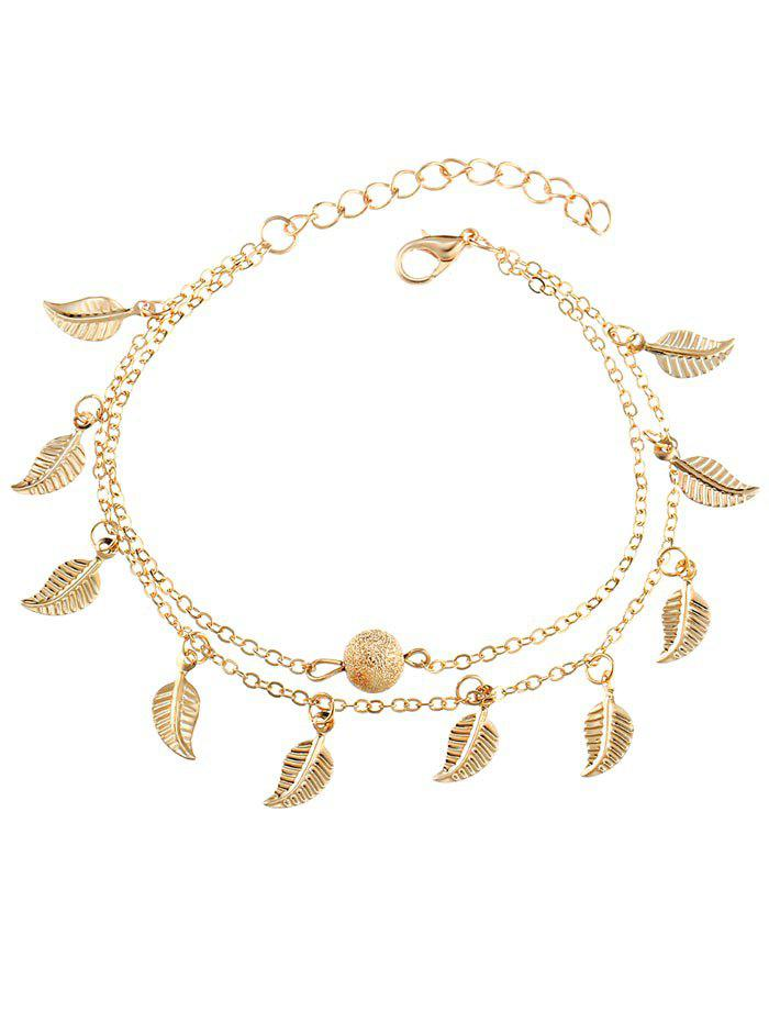 Unique Vintage Double Layer Metal Leaf Ankle Bracelet