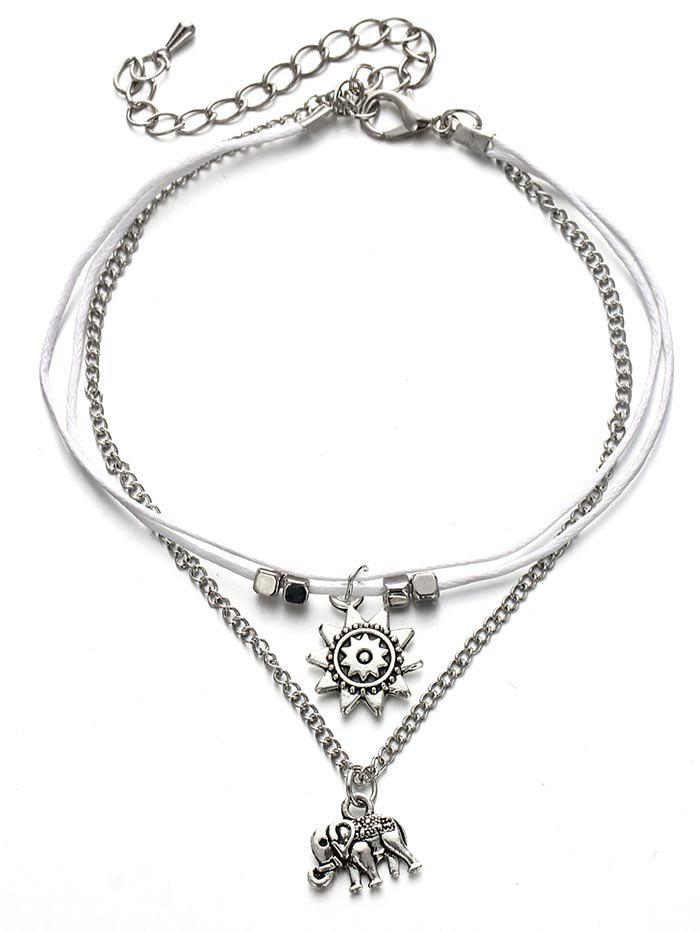 Affordable Metal Elephant Sun Ankle Chain Bracelet