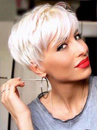 Perruque synthétique courte inclinée Bang Straight Pixie
