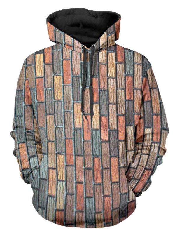 Online Bricks Wall Printed Kangaroo Pocket Design Hoodie