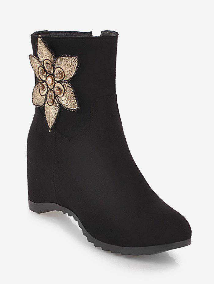 Unique Plus Size Suede Flower Embellished Ankle Boots