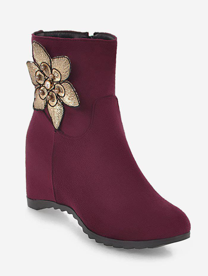 New Plus Size Suede Flower Embellished Ankle Boots