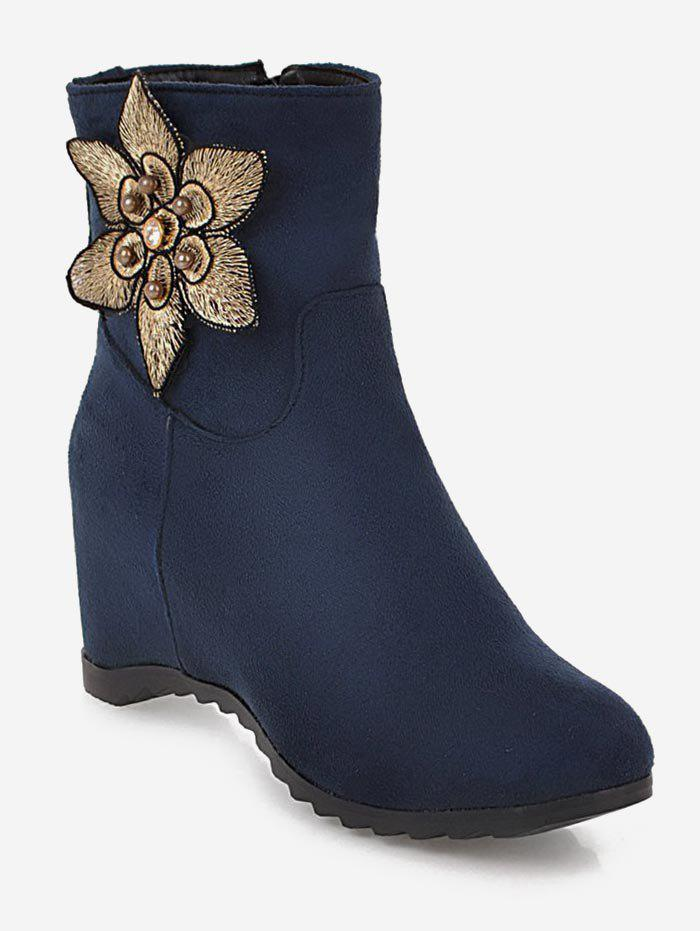 Shop Plus Size Suede Flower Embellished Ankle Boots