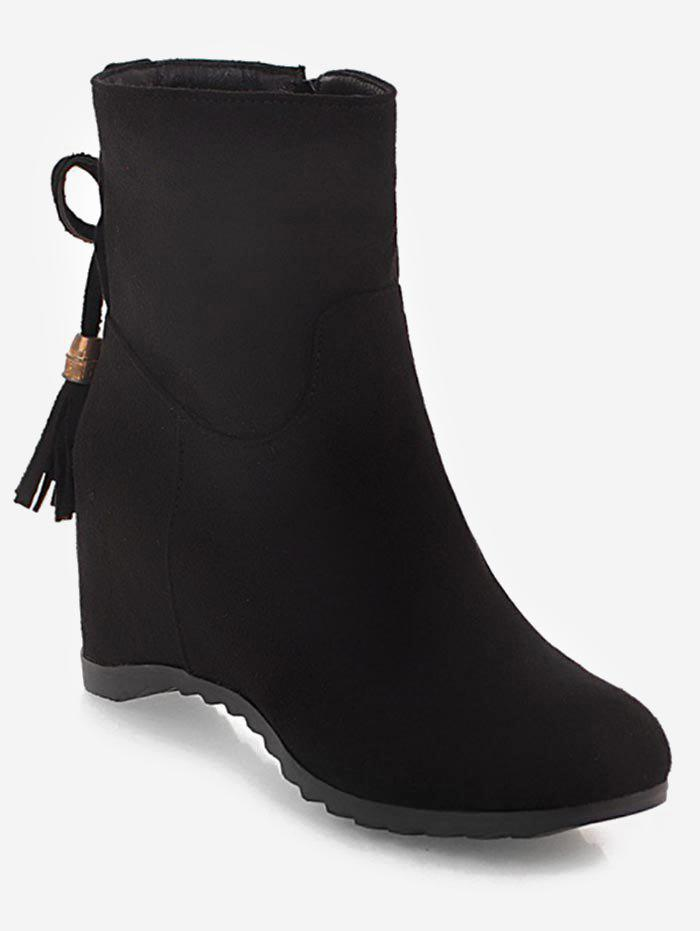 Best Tassels Embellished Suede Plus Size Ankle Boots