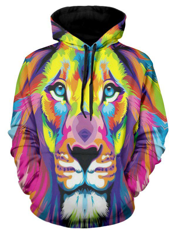Sweat-Shirt à Capuche et à Imprimé Lion Coloré 3D