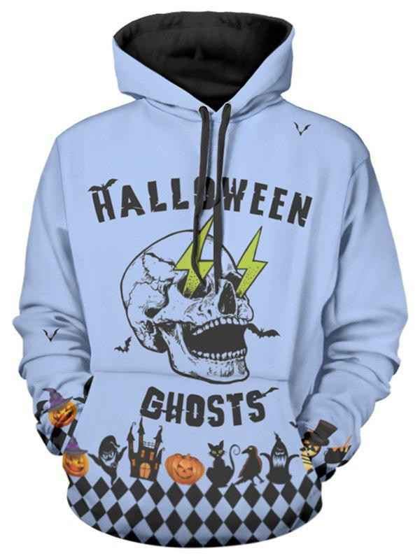 Discount Halloween Skull Letter Print Pullover Hoodie