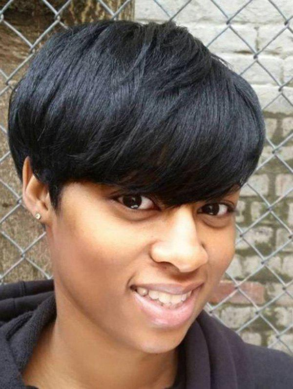 Latest Short Side Bang Straight Human Hair Wig