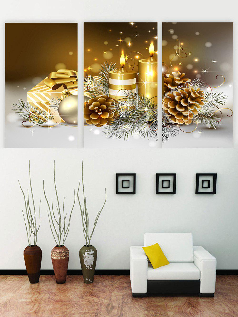 Trendy Unframed Christmas Candle Print Canvas Paintings