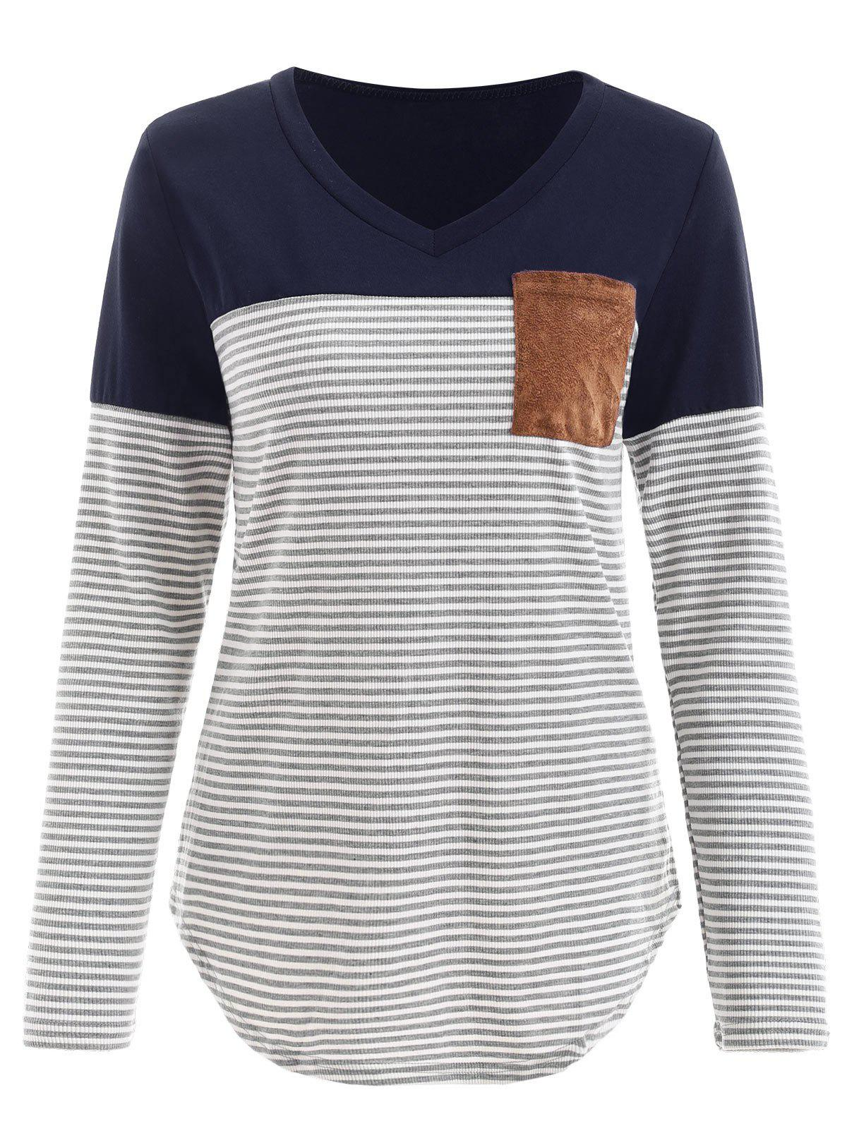 Unique V Neck Striped Panel T-shirt