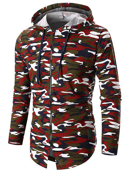 Hot Long Sleeve Zip Up Camo Hoodie