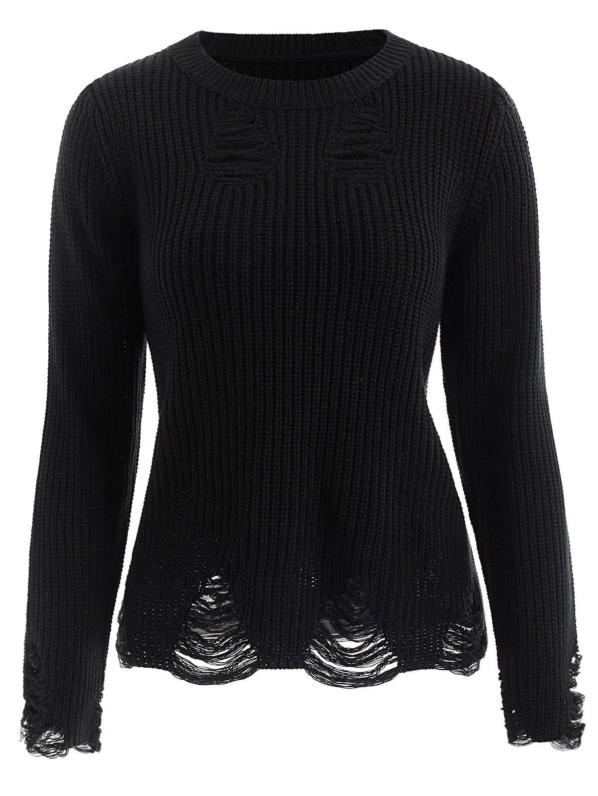 Discount Ribbed Distressed Sweater