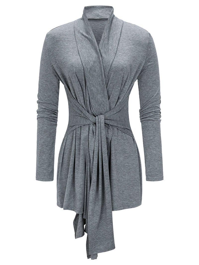 Shop Collarless Long Sleeve Asymmetrical Coat
