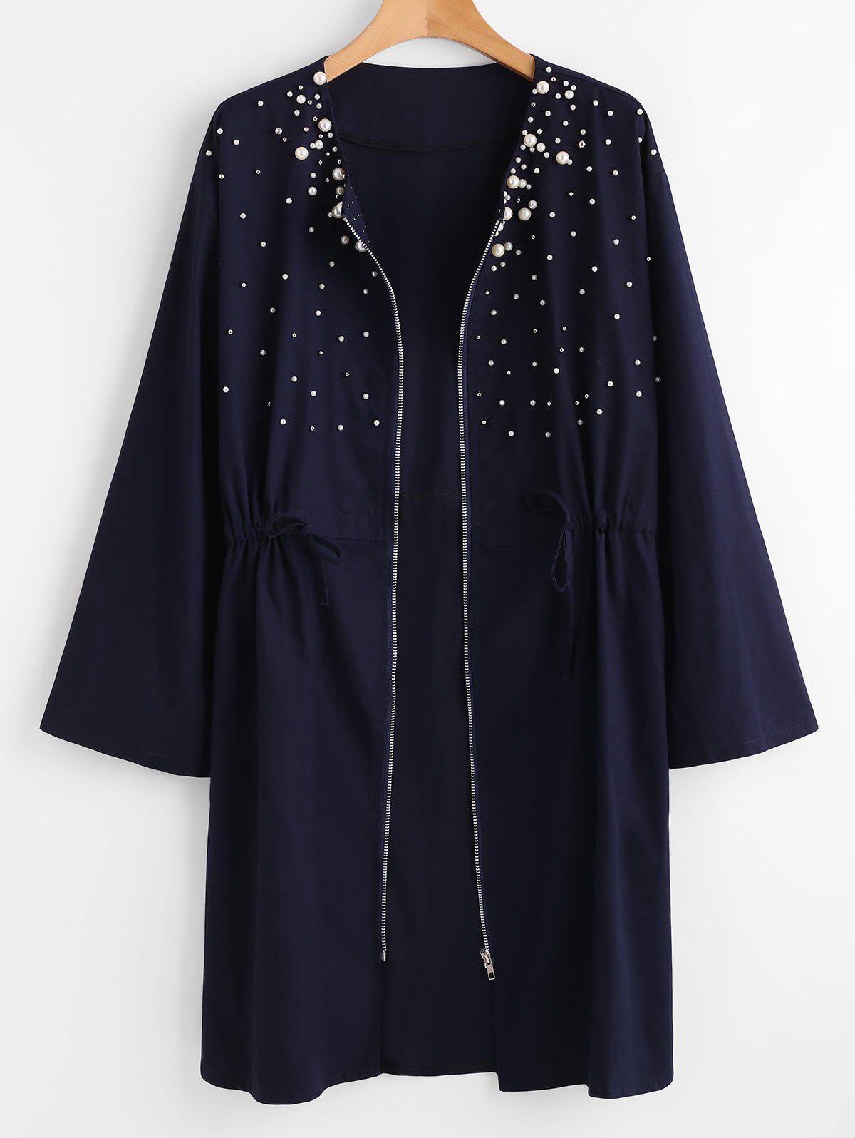 Outfit Plus Size Zip Up Beaded Coat