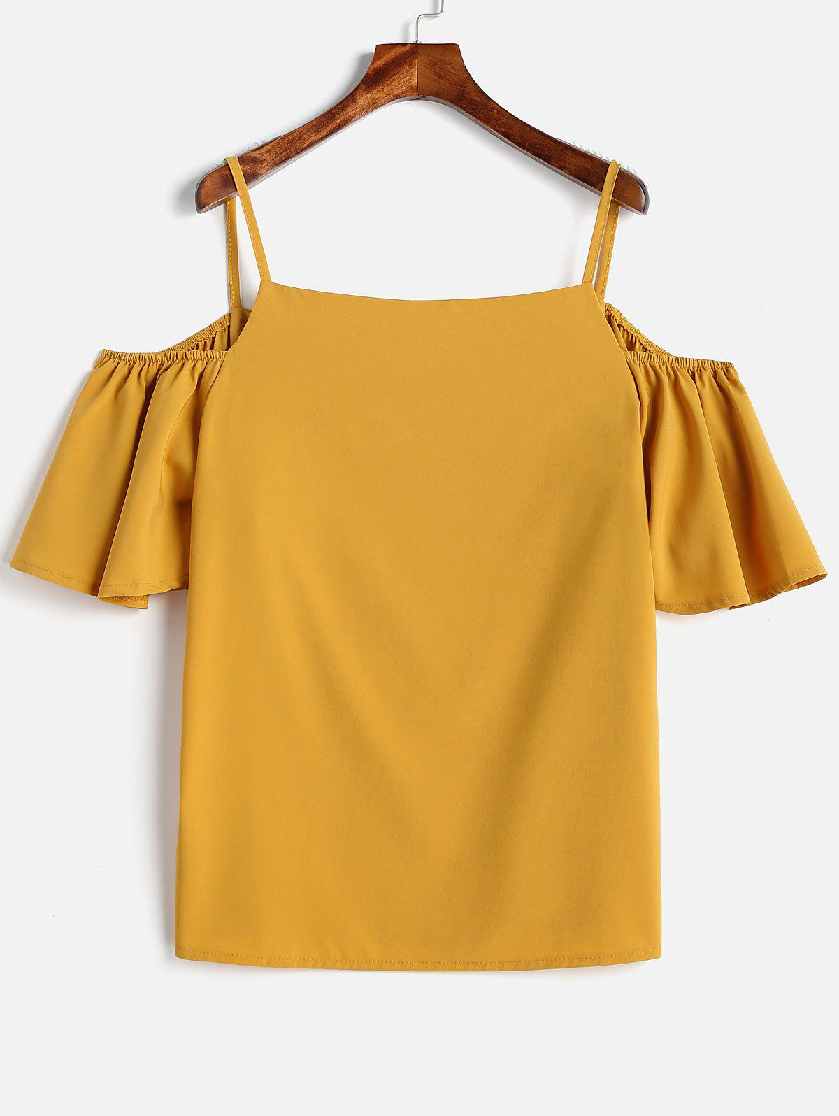 Sale Plus Size Spaghetti Strap Cold Shoulder Blouse